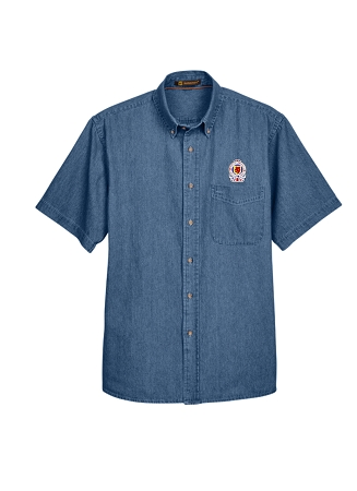 M550S MEN'S SHORT SLEEVE DENIM BUTTON DOWN SHIRT